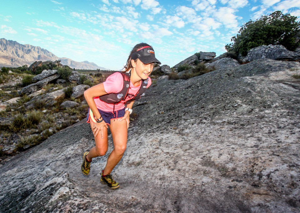 Alana Jane Munnik powers up a steep rock face during Stage 2 of the Tankwa Trail. Photo by Oakpics.com.