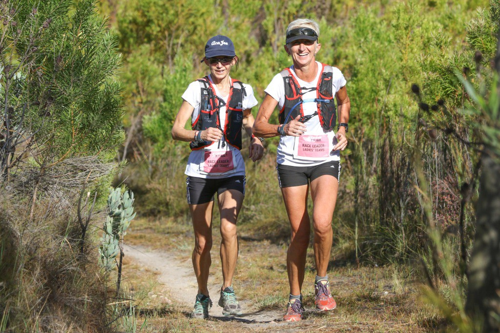 Partners in Crime, Jana Trojan & Tracy Forbes in action during Stage 2 of the Tankwa Trail. Photo by Oakpics.com.