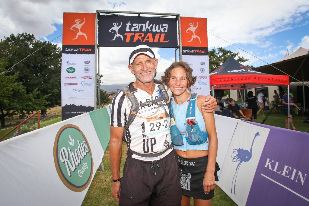 Donald Mouton and Katja Sogot pose for a photo after completing Stage 2 of the Tankwa Trail. Photo by Oakpics.com.