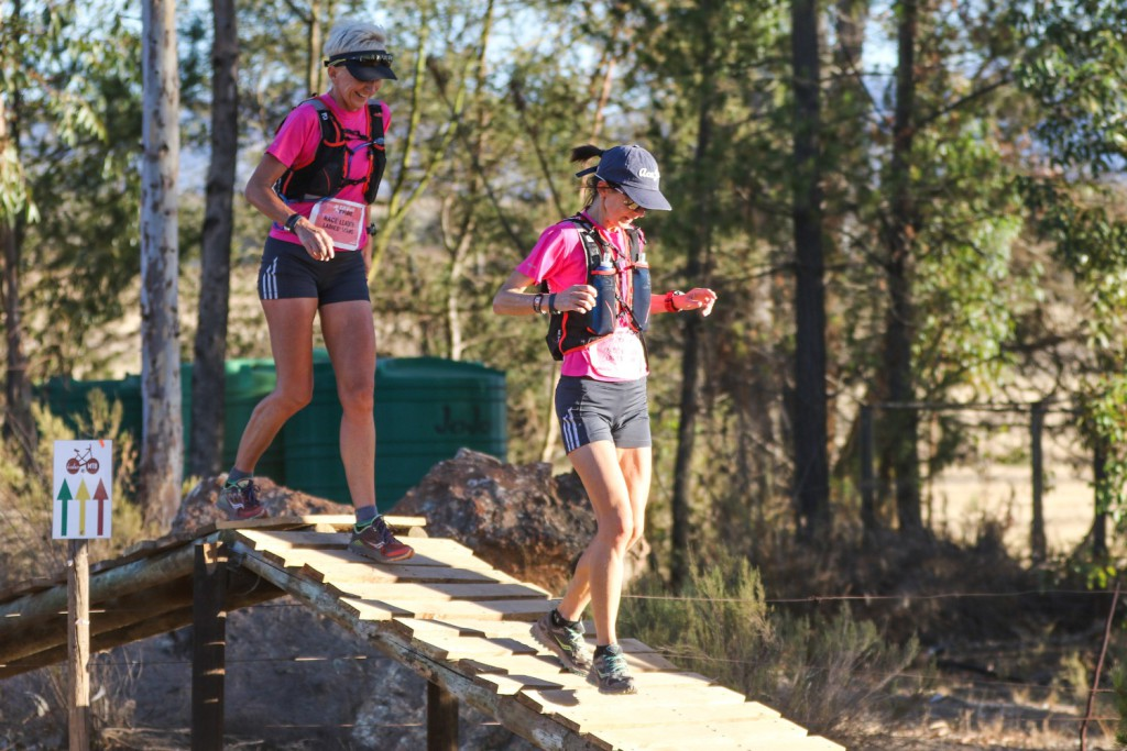 Partners in Crime, Jana Trojan and Tracy Forbes, on their way to stage and general classification victory in the women's team category at the 2017 Tankwa Trail. Photo by Oakpics.com.